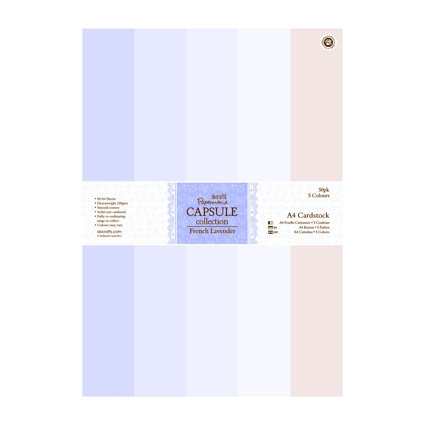 Papermania French Lavender A4 Cardstock 50/Pkg-5 Colors
