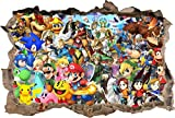 Super Smash Bros Mario Smashed Wall Decal Graphic Wall Sticker Art Mural H826, Large