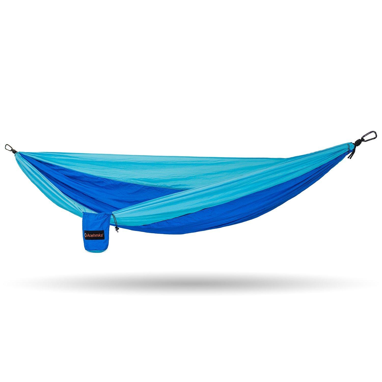 Acehmks Hammock Portable Folding Ultralight Parachute Nylon Camping Hammocks Garden Swing With 2pcs Strong Tree Straps (Blue)