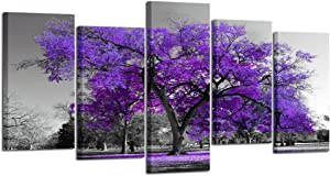 Kreative Arts Purple Tree Wall Art for Living Room Landscape Canvas Prints 5 Panel Black Picture Modern Artwork Contemporary Nature Painting Stretched and Framed Ready to Hang (Medium Size 40x22inch)