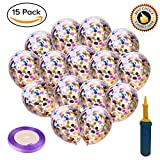 """Rainbow Confetti Balloons Kids Birthday Party - Supplies 15pcs Pre-Filled Exciting 12"""" Helium Clear Round Multicolor Rose Pink Gold Blue Confetti with Hand Pump Curling Ribbon for Wedding Engagement"""
