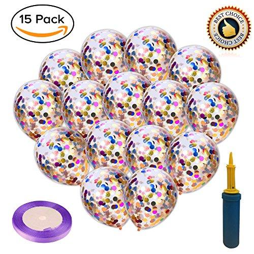 Rainbow Confetti Balloons Kids Birthday Party - Supplies 15p