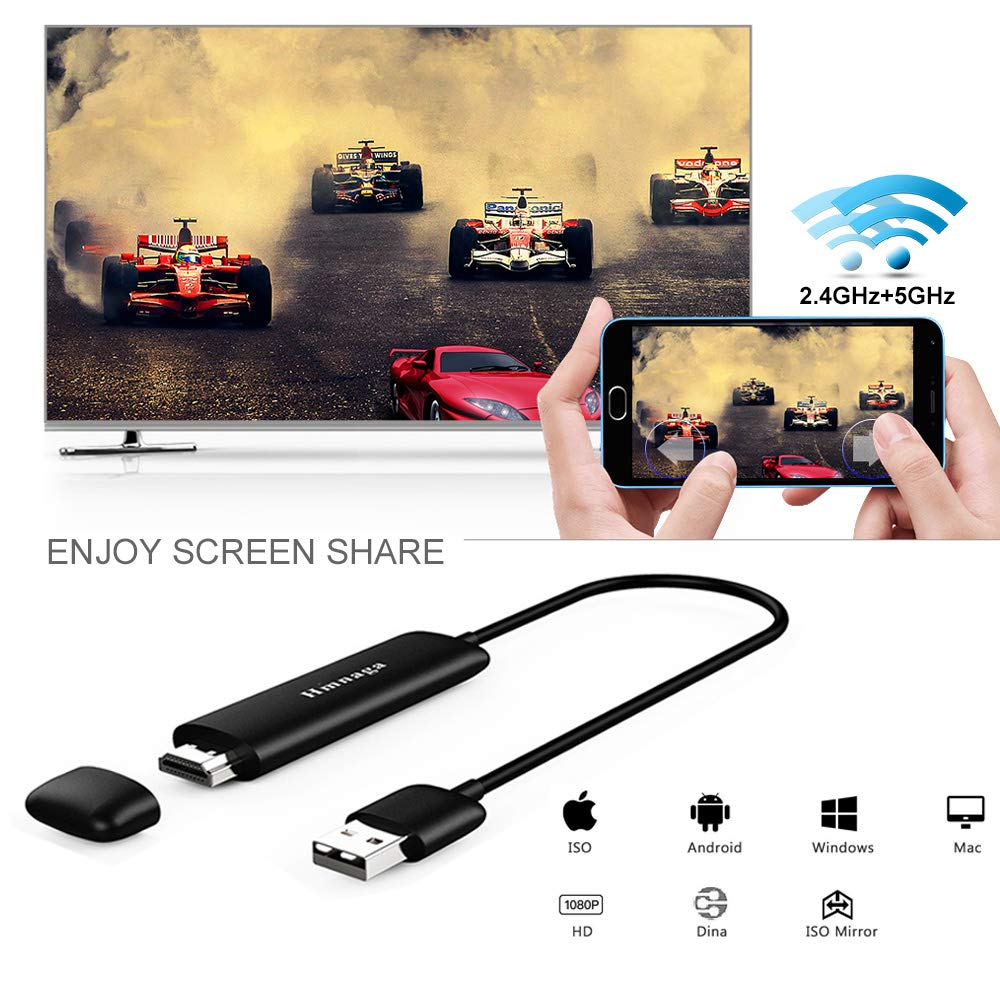 U2C WiFi Wireless Display Dongle 5G High Speed Full HD 1080P HDMI Screen Mirroring Mini Display Adapter Receiver Support Miracast/Airplar/ DLNA/WIDI for iOS/Android/ Mac OS/Win 8.1+