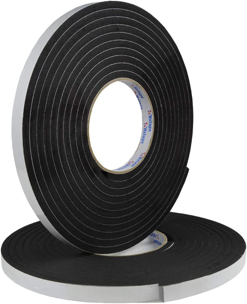 """Hxtape Multi Size Choices High Density Foam Tape,Single Side Adhesive,Soundproofing Waterproofing Insulation Foam Gasket Tape Weather Strip (1/4""""Thick-1/2""""-33ft)"""