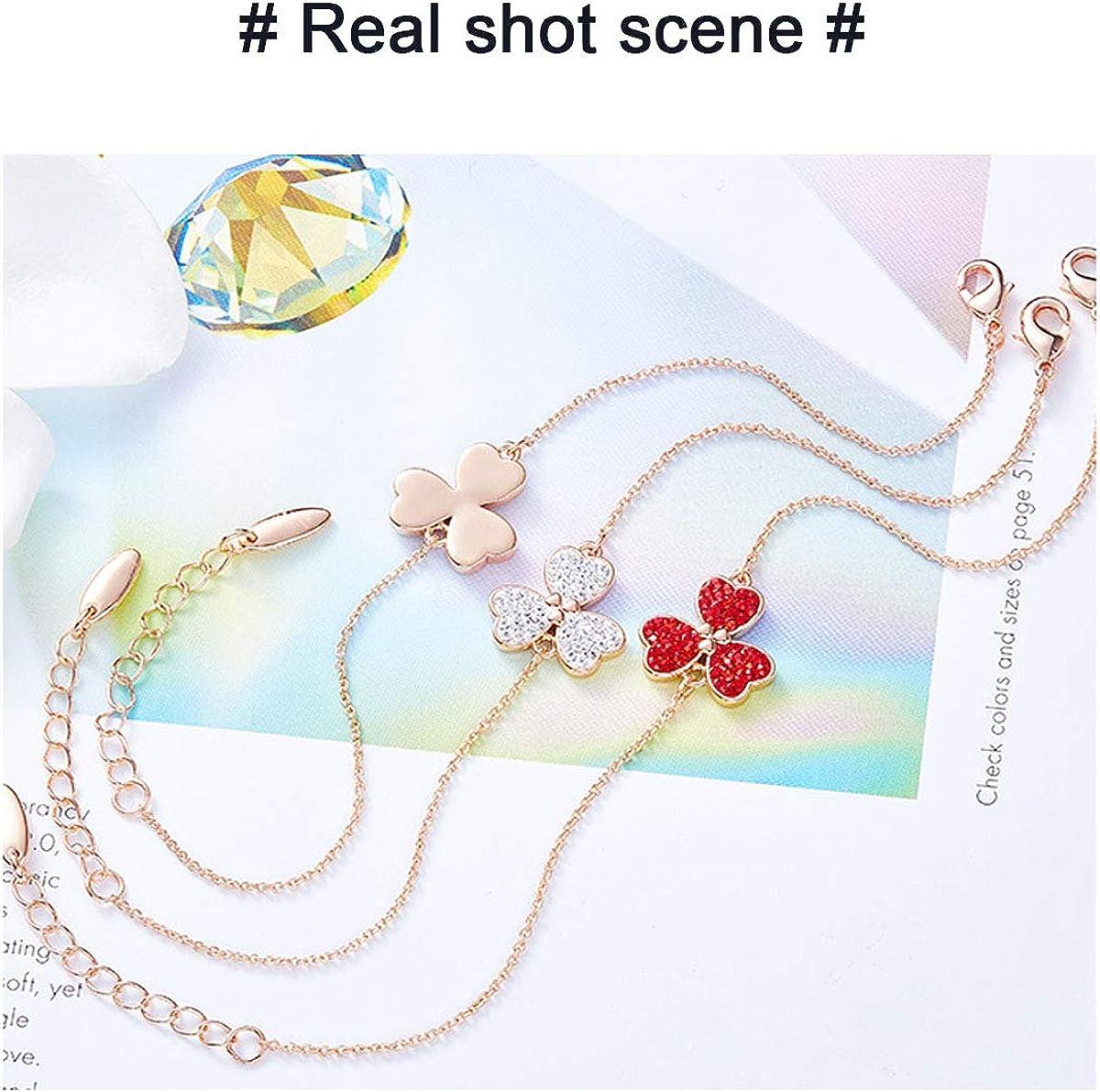 Bracelet Femme Fille Tr/èfle en Or Rose Bracelet R/églable avec charme pour Femme Bracelets Cha/îne de Cristaux Rouge Anniversaire Cadeau F/ête des M/ères pour Femmes Maman Epouse
