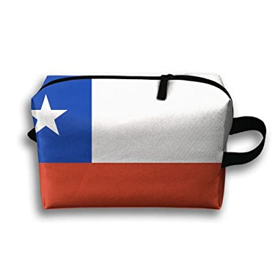 Leisue Chile Flag National Cosmetic Bag Zipper Makeup Accessories Pouch Toiletries Bags Pen Pencil Power Lines Travel Cases Hanging Documents Handbag