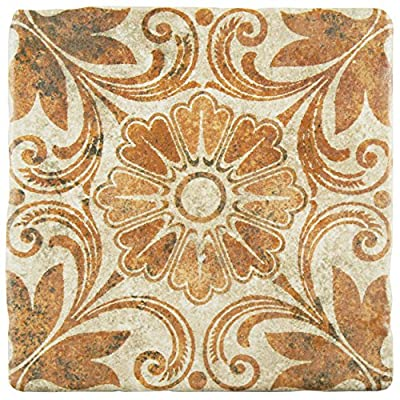 "SomerTile FEB8CAD6 Cana Arena Ceramic Floor and Wall Tile, 7.75"" x 7.75"", Beige/Brown/Green"