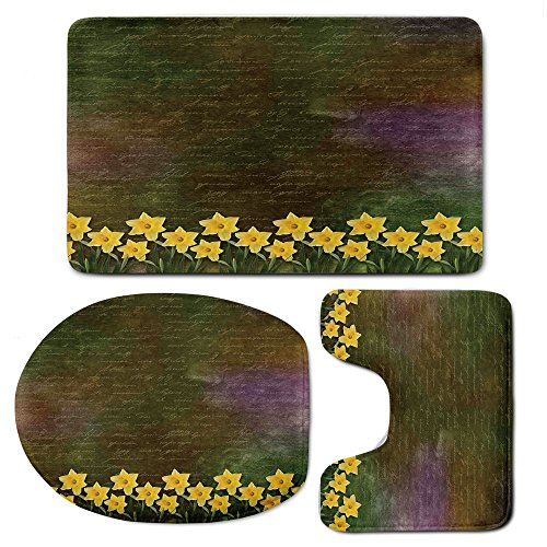 3 Piece Bath Mat Rug Set,Daffodil,Bathroom Non-Slip Floor Mat,Bunch-of-Potted-Daffodils-under-Calligraphy-Lettering-Featured-Flower-of-Spring,Pedestal Rug + Lid Toilet Cover + Bath ()