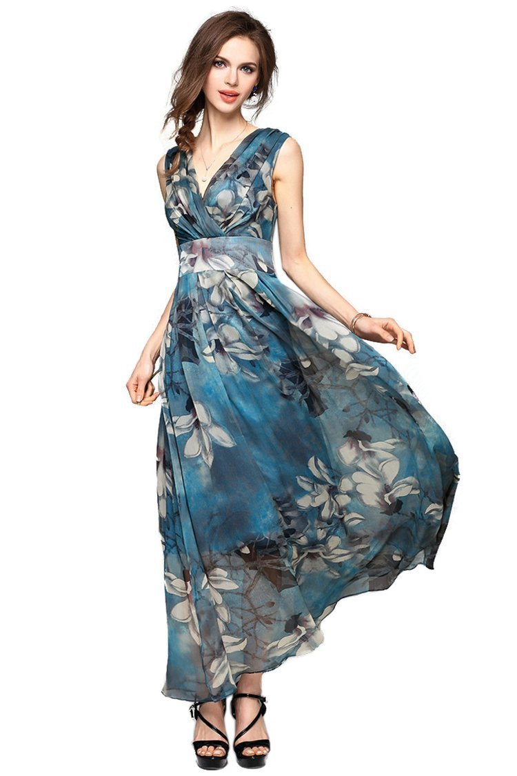 Joy EnvyLand Women V-neck Flower Prom Party Tunic Long Cocktail Beach Dress