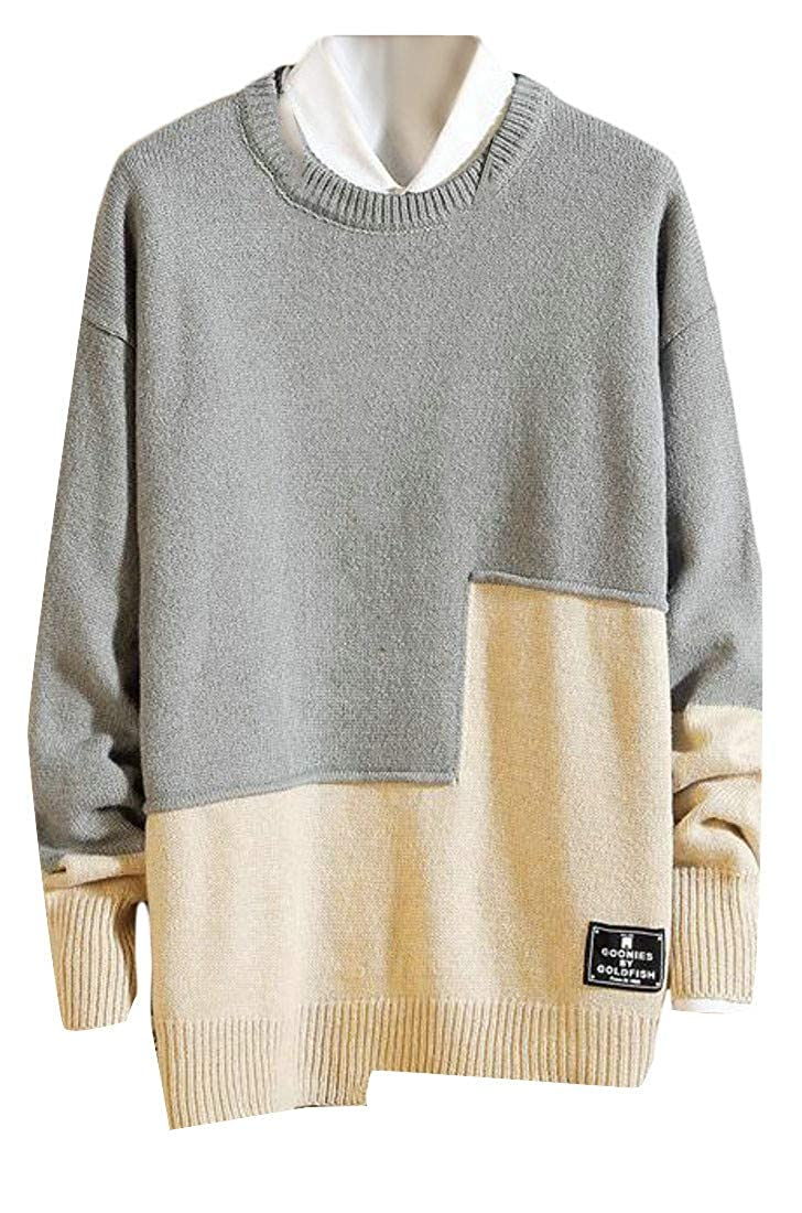 Agana Men Casual Round Neck Loose Fit Knitted Pullover Color Block Sweater