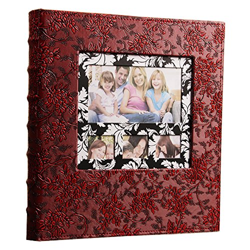 - Xerhnan Leather Frame Cover Photo Album 600 Pockets Hold 4x6 Photos.(Peony Flower)