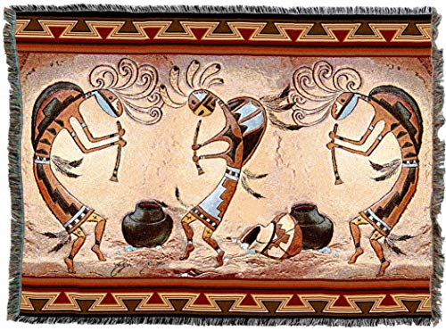Pure Country Weavers | Kokopelli Pot Dance Woven Tapestry Throw Blanket with Fringe Cotton USA 72x54