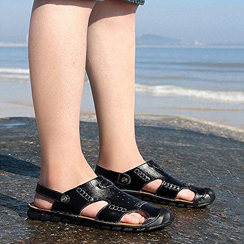 adatti brown Color tempo Sandali il sandali Size uomo al Yellow e da libero antiscivolo all'aperto 40 regolabili per la in Black traspiranti per EU sandali pelle spiaggia coperto 16g7Zqw1