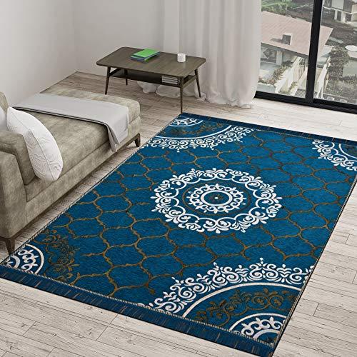 Vram 6D Designer Superfine Exclusive Velvet Carpet | Rug | Living Room | Bedroom | Hall | School | Temple | Bedside Runner | – |60″ inch x 84″ inch | 150 cm x 210 cm | 5 Feet x 7 Feet | – Aqua
