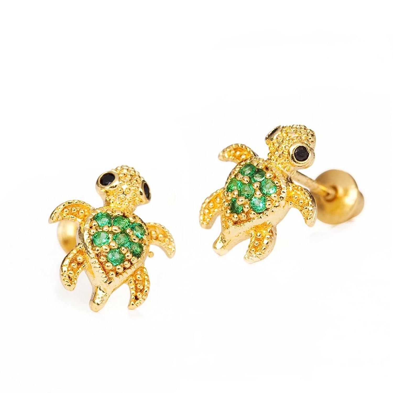 Amazon.com: 14k Gold Plated Brass Turtle Cubic Zirconia Screwback ...
