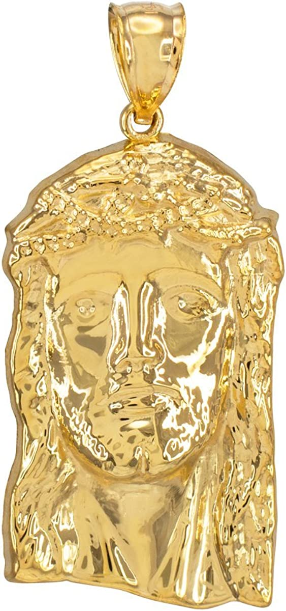 Jewelry America 14K Yellow Gold Face of Jesus Christ Pendant Necklace