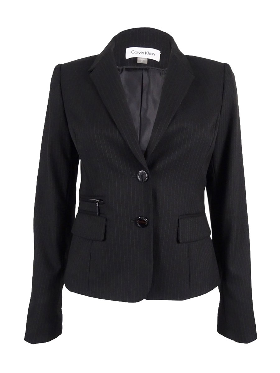Calvin Klein Womens Petites Twill Pinstripe Two-Button Blazer Black 12P