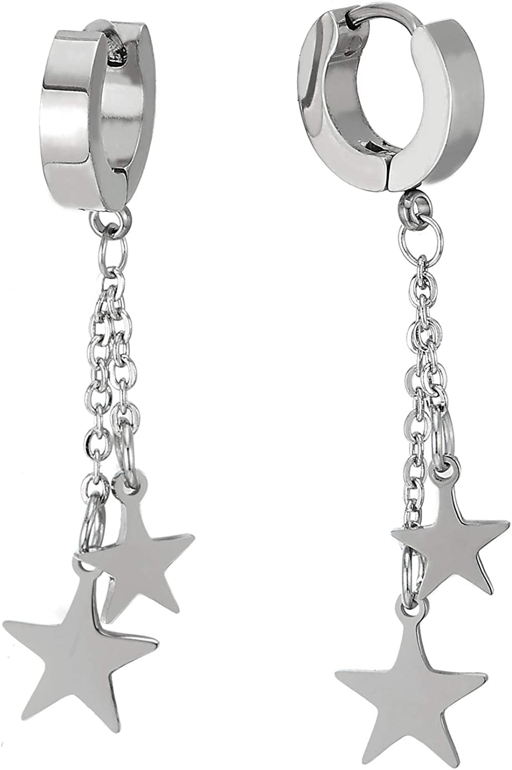 Mens Womens Stainless Steel Huggie Hinged Hoop Earrings with Double Long Chains Dangle Stars