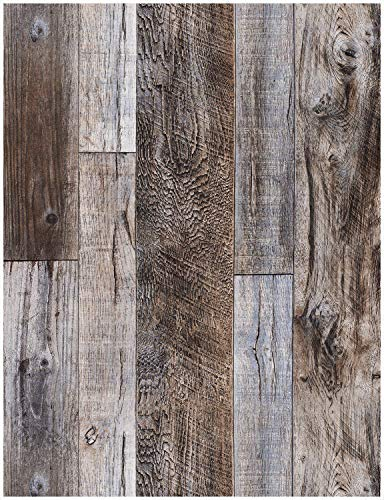 """HaokHome 5003 Weathered Faux Wood Plank Wallpaper Slategray/Brown 20.8"""" x 31ft Barnwood Wallpaper Murals Home Kitchen Bathroom Decoration"""