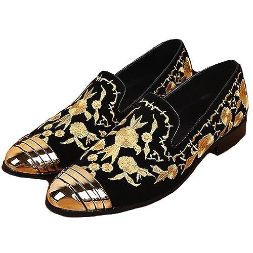 US Tamaño 5 - 12 Punta de Acero Dorado Bordado Funda de Piel para Hombre Vestido Zapatos de Mocasines.: Amazon.es: Zapatos y complementos