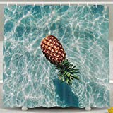 BINGO FLAG Funny Fabric Shower Curtain Swimming Pool Summer Time Pineapple Waterproof Bathroom Decor With Hooks 60 X 72 Inch