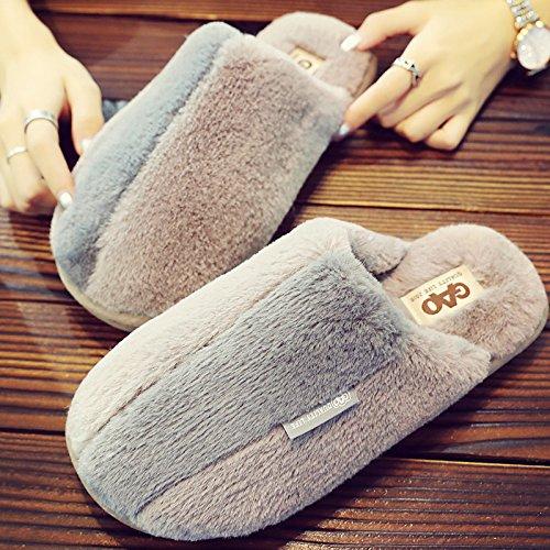 Inverno fankou pantofole di cotone femmina calda coperta morbida antiscivolo home paio di pantofole di cotone scarpe incantevole ,38/39,) 2 - bianco
