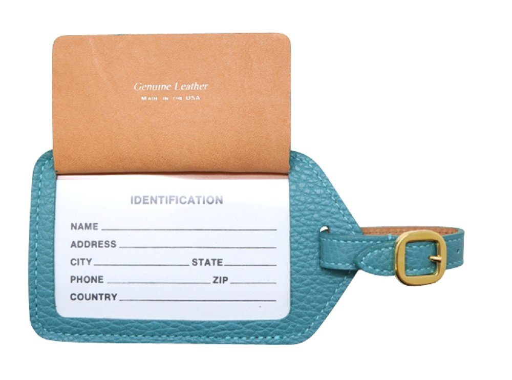 Teal Colorado Collection Genuine Leather Travel Luggage Tags – Made in USA by Real Leather Creations - Factory Direct Gift Box FBA670 by Real Leather Creations (Image #4)