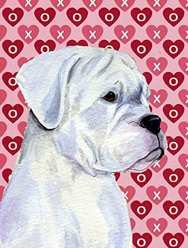 Caroline's Treasures SS4509GF Boxer Hearts Love and Valentine's Day Portrait Flag, Small, Multicolor For Sale