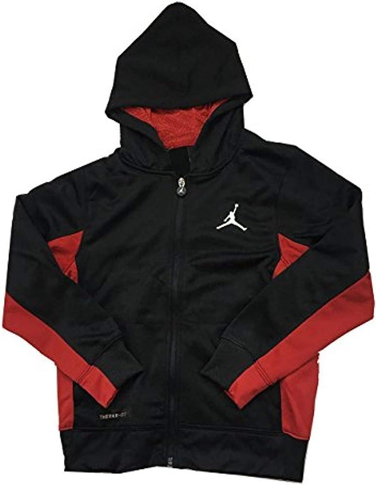 584804446 Amazon.com: Jordan Air Big Boys Therma-Fit Hoodie Black/Red Size ...