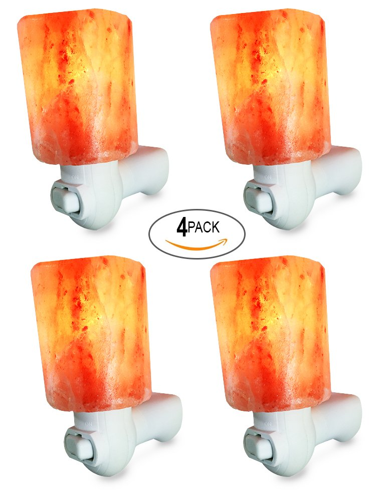 Dream Salts Himalayan Salt Lamp Night Light/Plug for Air Purifying, Bedroom Decoration and Lighting, 4 Pack (Cylinder)