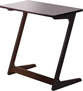 Zoopolyn Bamboo Laptop Tray Table End Table Coffee Snack TV Desk Sofa Side Table Office Furniture Z Shape Dark