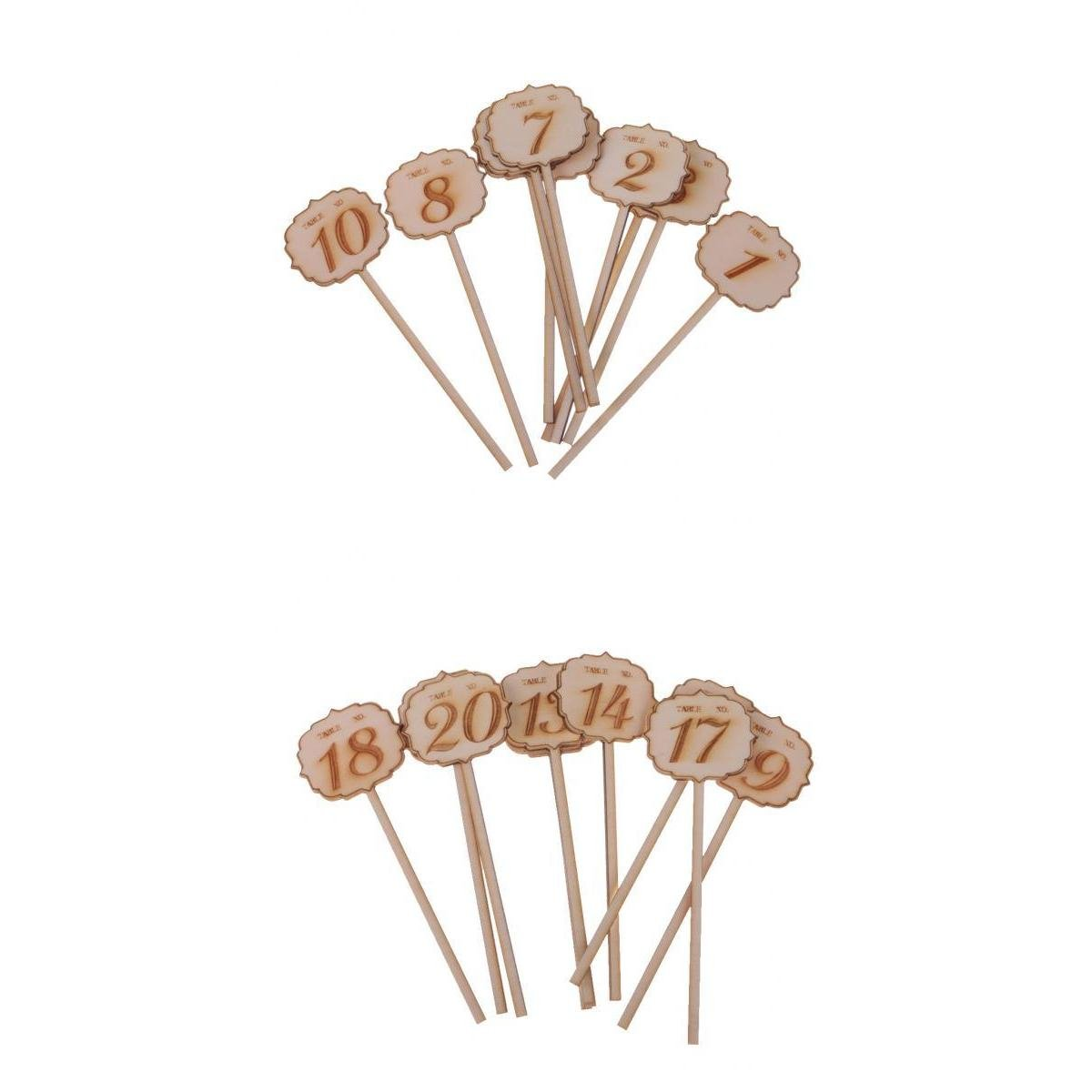 Dovewill 20pcs/Set Wooden Cloud Table Number on Sticks for Wedding Table Decor 1-20