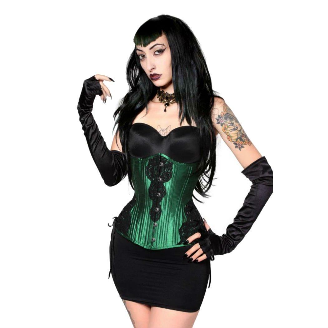 Timeless Trends (LONG) Hourglass Green Black Trim Underbust Steel Boned Corset (Your Waist 29''-30'' Size 24)