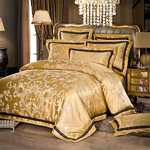 Lotus Karen Winter Thick Jacquard Bed Sheet Set Luxury Satin Bedding Set Home Textile 4PC Wedding Duvet Cover Set, 1Duvet Cover, 1Flat Sheet, 2Pillowcases King Queen/Full Size Classic Pattern Design by Lotus Karen