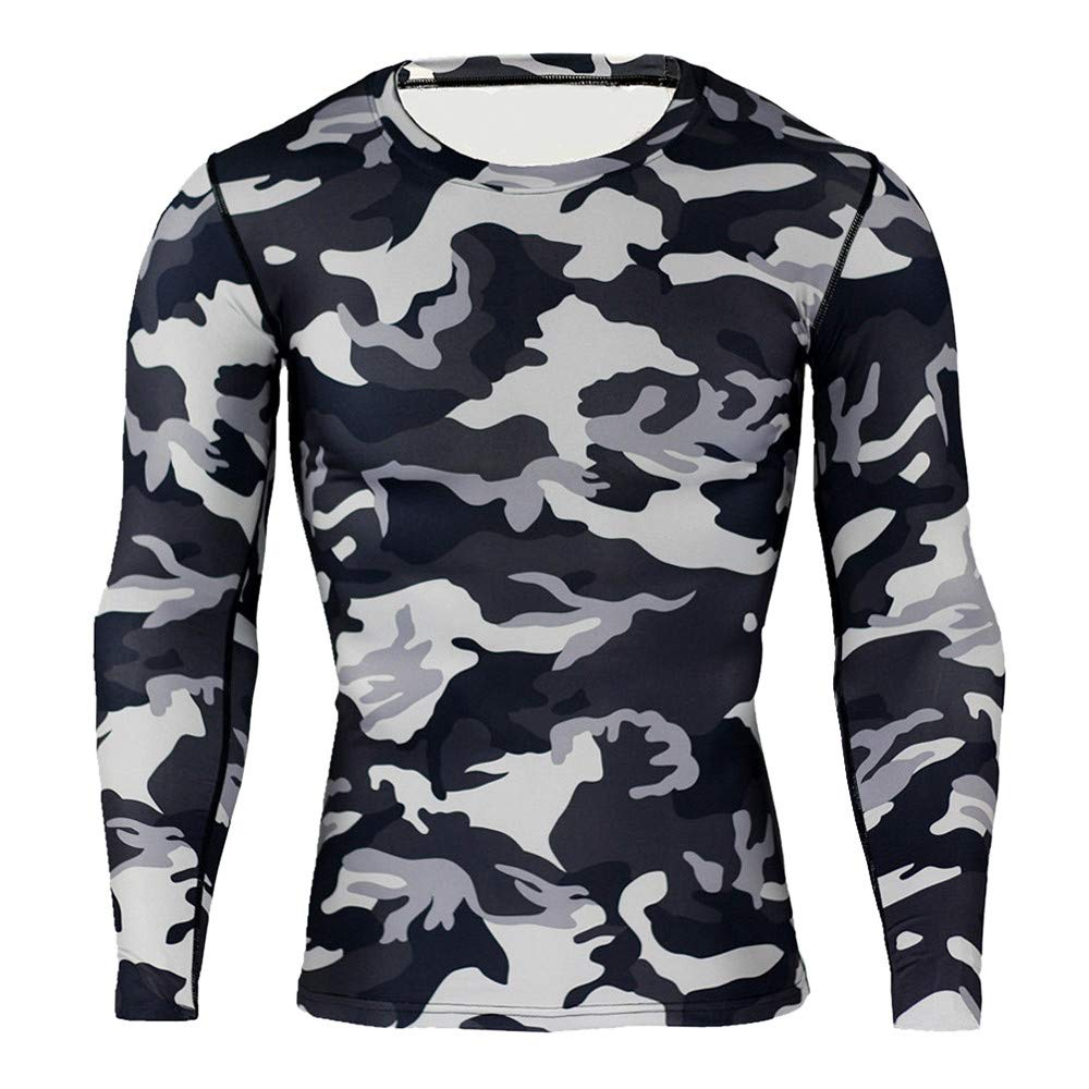 HEFEITONG Men Long Sleeve Clothes Muscle Bodybuilding Blouse Tight-Drying Tops 11.72