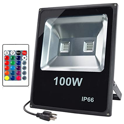 Glw 100w Rgb Led Flood Lights Outdoor Color Changing Security Flood Light With Remote Control Ip66 Waterproof 16 Colors 4 Modes Dimmable Stage
