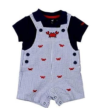 4bed0b792f3 Amazon.com  Little Me Baby Boys Crab Shortall Set 6 months  Clothing