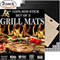 Grill Mat Set of 3 - Professional Non-Stick Grill Mats for BBQ Grilling and Baking - Heavy Duty Best for Cooking on Charcoal, Gas, Oven, Smoker, Electric Grills - Reusable and Easy to Clean by Mister Chefer