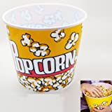 Retro Style Popcorn Bowl Large Plastic Container, Reusable Tub Movie Theater Bucket 9.5 X 8.5