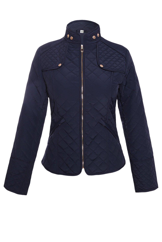 Nuevo Negro de la mujer acolchado cremallera frontal chaqueta Ropa Ropa de Coat Casual tamaño L UK 12UE 40