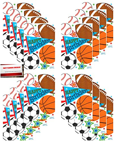 Sports Party 16 Pack Baseball Basketball Football Soccer Plastic Loot Treat Candy Favor Bags (Plus Party Planning Checklist by Mikes Super Store) Basketball Party Loot Bags