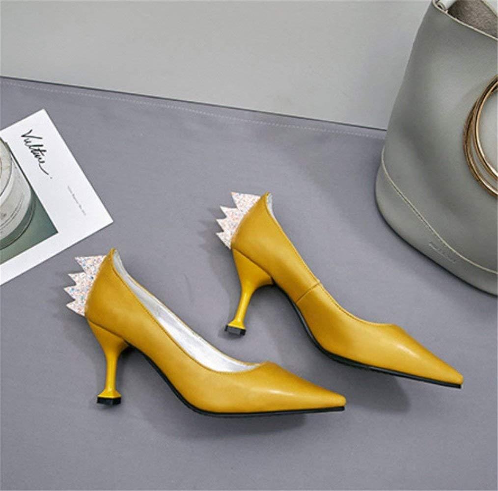 Moontang High Heels, Party Kätzchen Fersen Kleid Dating Büro Party Heels, Blink Schuhe Sandalen Klassische Braut Damen Damen Prinzessin Luxus Peep Toe Schuhe (Farbe   Gelb, Größe   EU38) ce7629