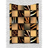 Safari Decor Tapestry Wall Hanging By Ambesonne, Jeans Denim Patchwork in Safari Style Wilderness St
