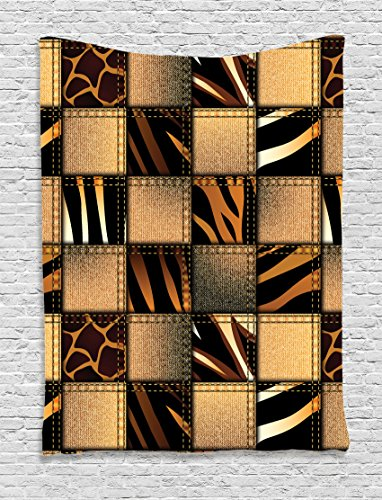 Ambesonne Safari Tapestry, Jeans Denim Patchwork in Safari Style Wilderness Stylized Design Art Print, Wall Hanging for Bedroom Living Room Dorm, 60 W X 80 L Inches, Black Chestnut
