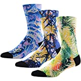 Novelty Cool Casual Crew Socks for Men, MEIKAN Fun Colored Art Pattern 3D Printed Moisture Wicking Socks ,3 Pairs Color 8,One Size