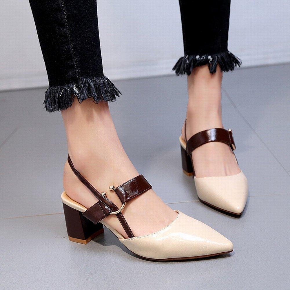 YTTY Einzelnen Schuhen Baotou Sandalen Weiblichen Spitzen High Heels Hohlen Schuhe  38|Wei?