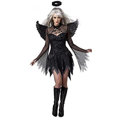 Halloween Costumes For Women Black Fallen Angel Costume Fancy Dress Sexy Costume For Women With Headpiece  sc 1 st  Amazon.com : black lady halloween costume  - Germanpascual.Com