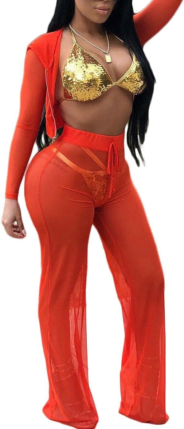 Chemenwin Womens Mesh See Though 2 Piece Beach Bikini Swimsuit Cover Up Hoodies Crop Top Pant Set