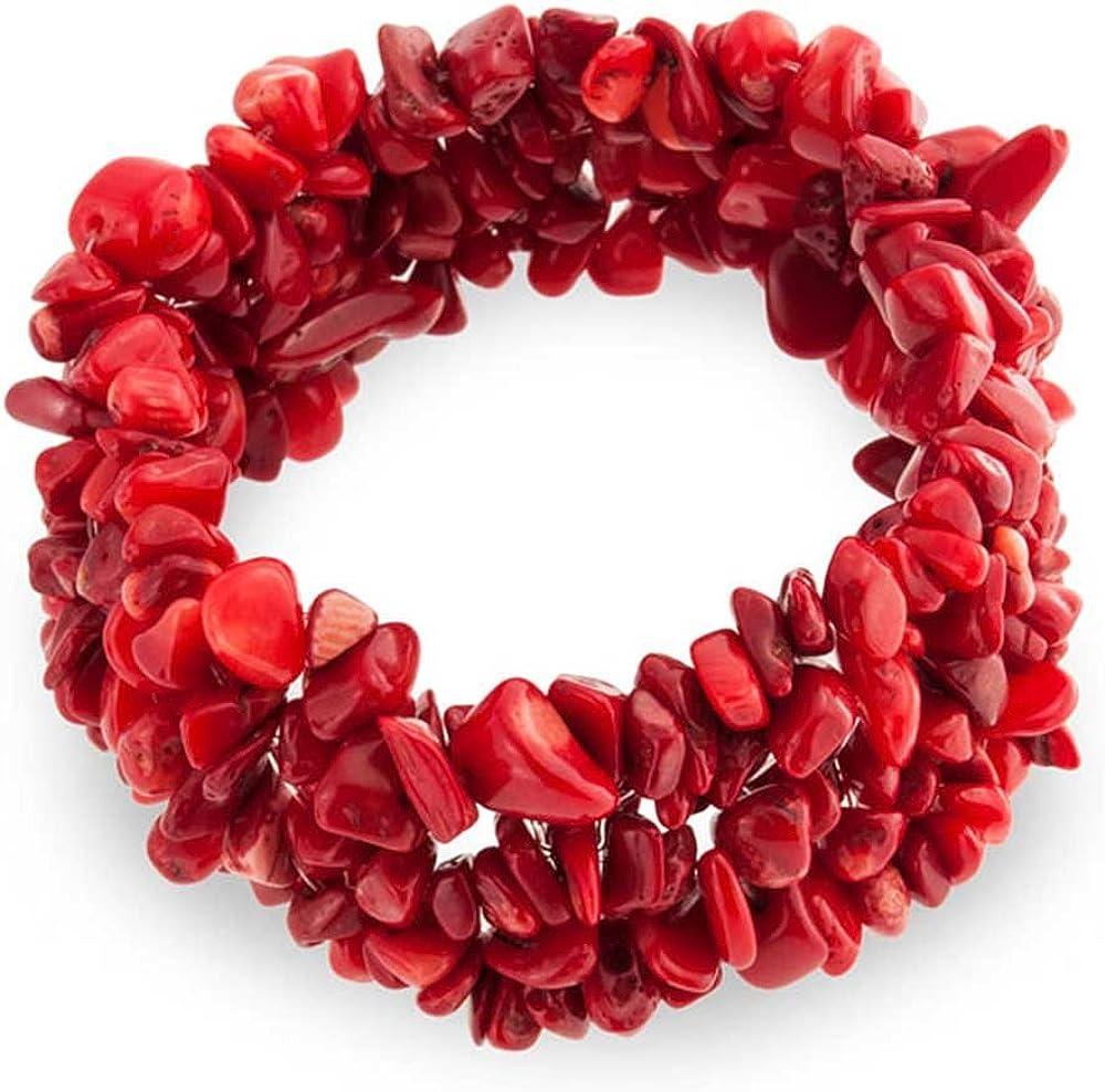 Bling Jewelry Moda Teñida De Color Rojo Coral Chips Clúster Declaración Amplia Franja Pulsera para La Mujer Adolescente