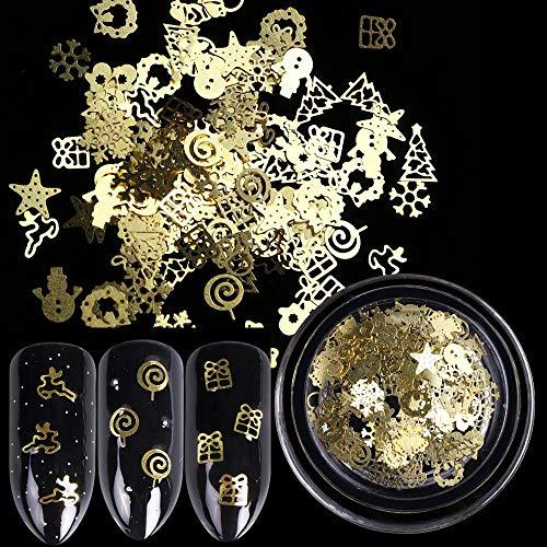 (Christmas Nail Art Metal Flake Sequin Star Bell Snowflake Design DIY)